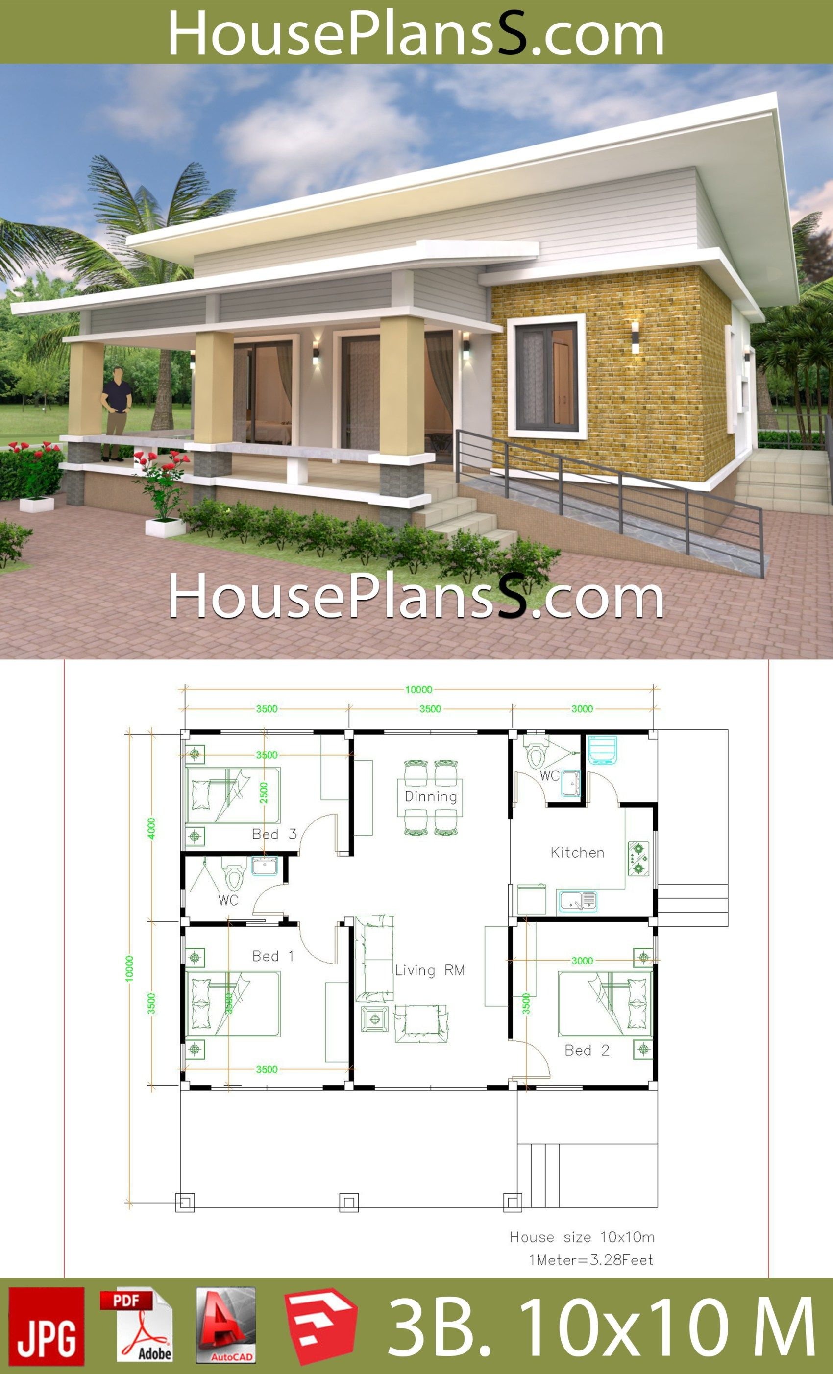 Best House Design Plans 10X10 With 3 Bedrooms Full Interior 640 x 480