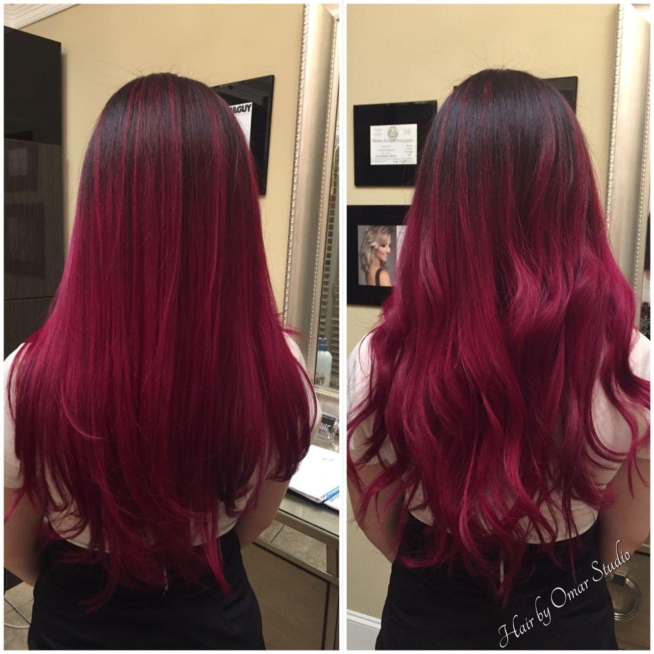 Hot Pink Balayage Pink Hair Balayage Hair Hair Highlights