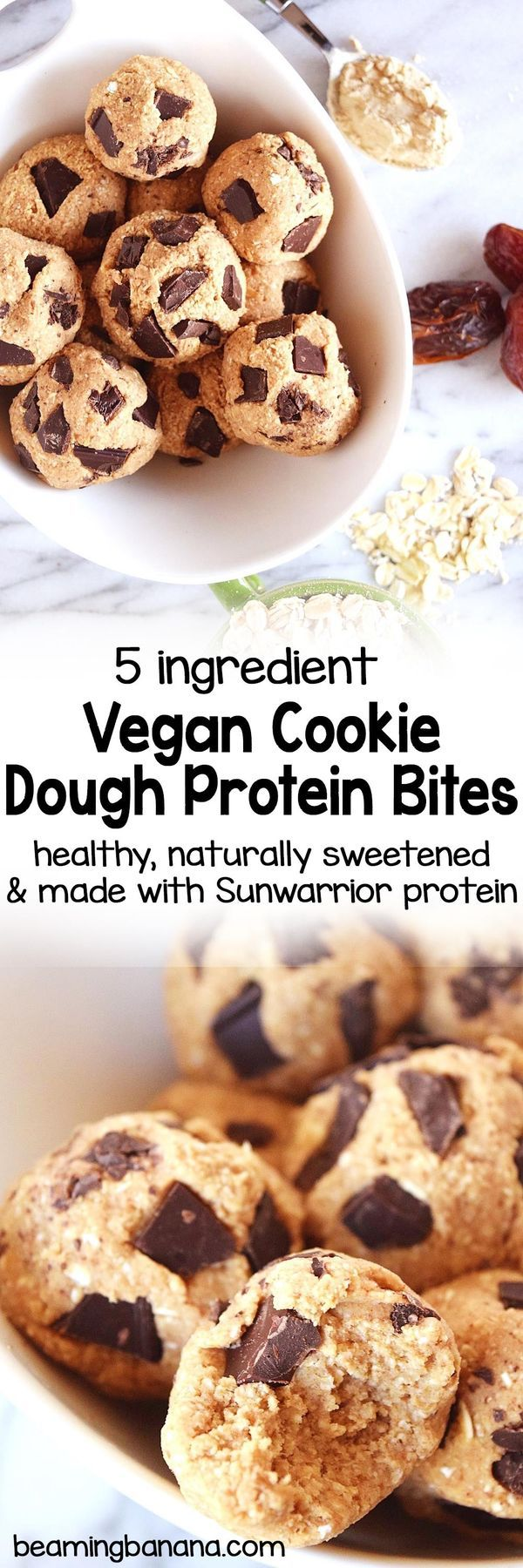 Soft, chewy, no bake vegan cookie dough protein bites! An easy breakfast, snack, or dessert, these cookie dough bites are full of healthy ingredients and plant-based Sunwarrior protein!