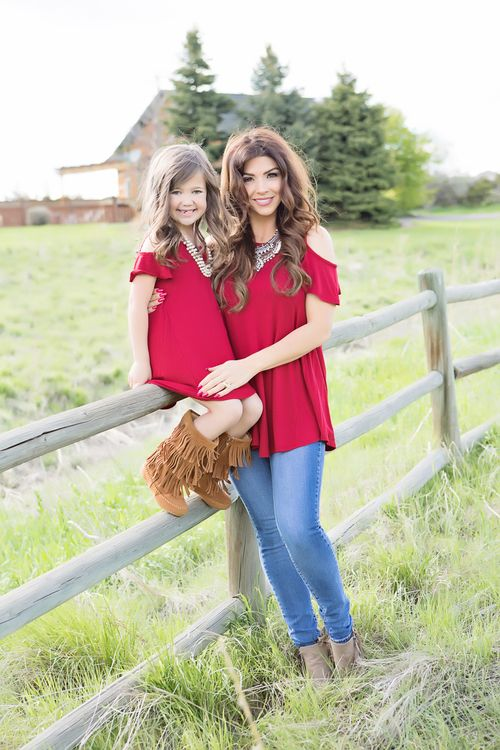 Mommy and Me Open Shoulder Butterfly Sleeve Tunic Dress Tango Red - Ryleigh Rue Clothing by Modern Vintage Boutique