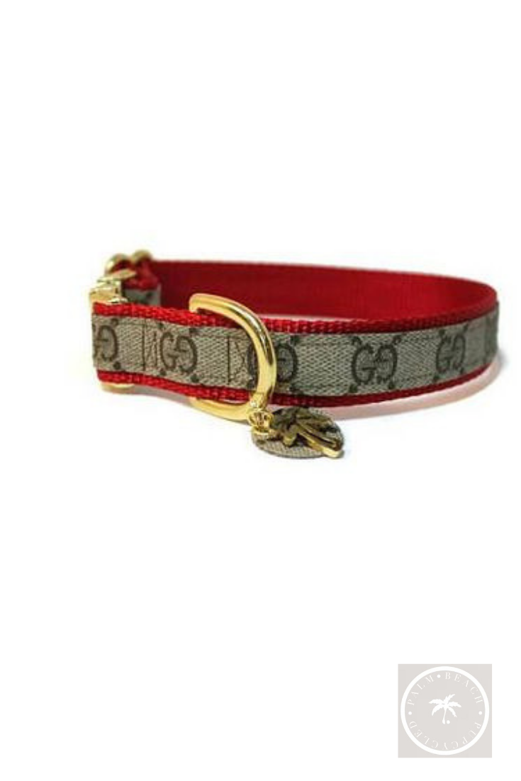 Genuine Gucci Collar With Palm Tree Tag Gucci Dog Collar Designer Dog Collars Leather Dog Collar Custom