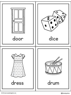 letter d words and pictures printable cards door dice dress drum worksheetthe letter d words and pictures printable cards can be used for flashcards
