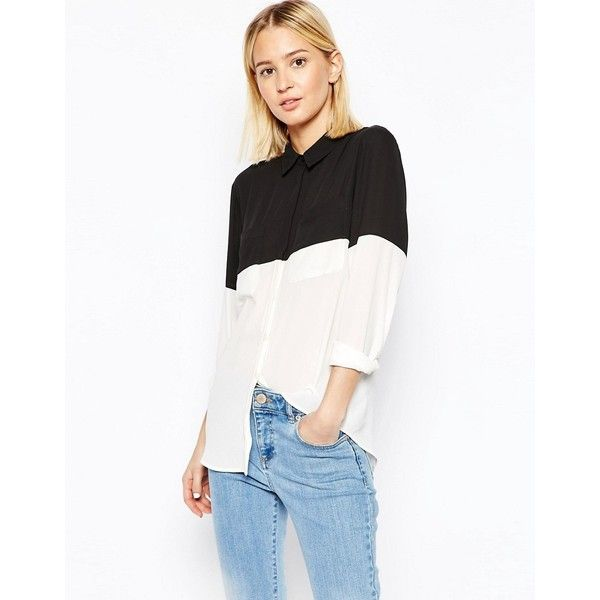 3c01d3fae311 ASOS Color Block Blouse ( 52) ❤ liked on Polyvore featuring tops ...