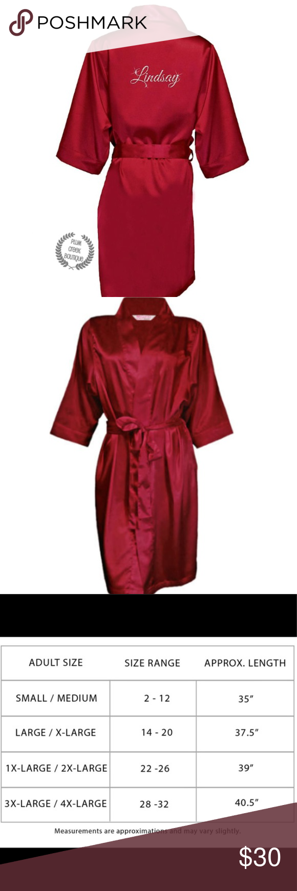 Crimson red satin robe christmas intimates new nwt boutique in