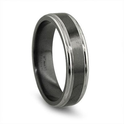 Edward Mirell Men S 6 5mm Black Anium Wedding Band With Grey Edges Zales