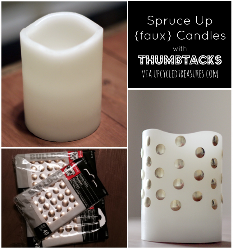 Spruce up {faux} Candles with Thumbtacks! A simple and easy way to gussy up those plain white LED candles using brass thumbtacks. UpcycledTreasures.com