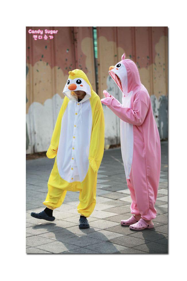 New Yellow Pengguin Adult Costume Kigurumi Pajamas Cosplay Onesie Fancy Pyjamas Korea Made!>_