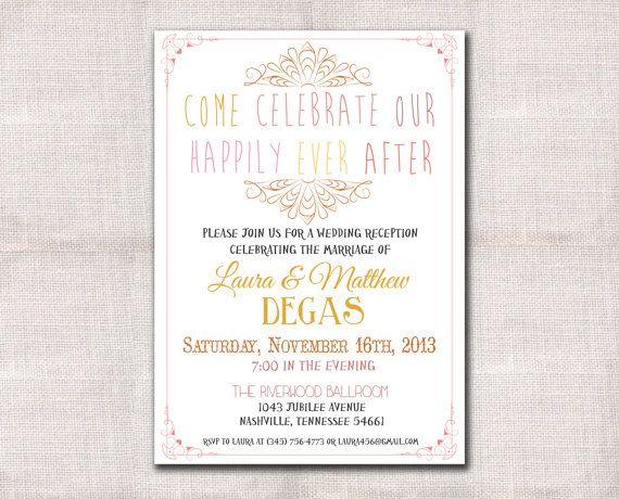 Reception Invitation Wording After Destination Wedding: Wedding Reception Invitation Custom Printable 5x7