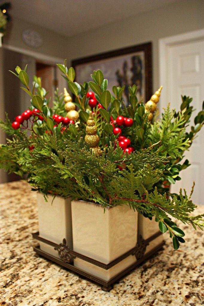 natural arrangement Christmas Decorations Pinterest Christmas