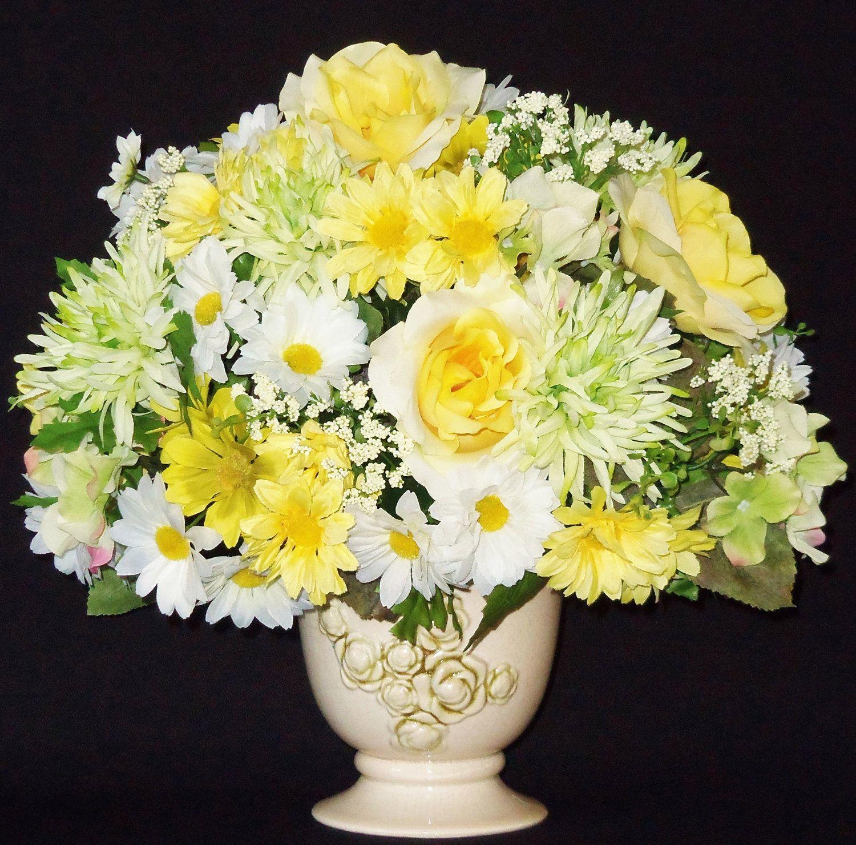 Silk Flower Arrangement Yellow Roses White Yellow Daisies Etsy Artificial Flower Arrangements Silk Flower Arrangements Flower Arrangements