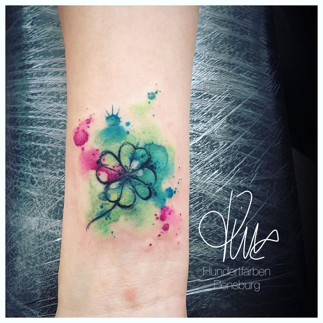 Four Leaf Clover Watercolor Tattoo Tattoo Ideas And Inspiration