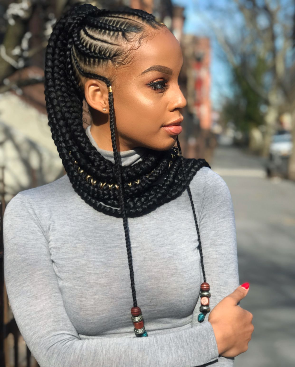 Long Braided Hair Style Kanyget Fashions African Braids Hairstyles Braided Ponytail Hairstyles Black Curly Hair