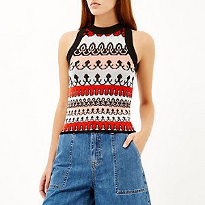 Blue pattern knitted sleeveless top