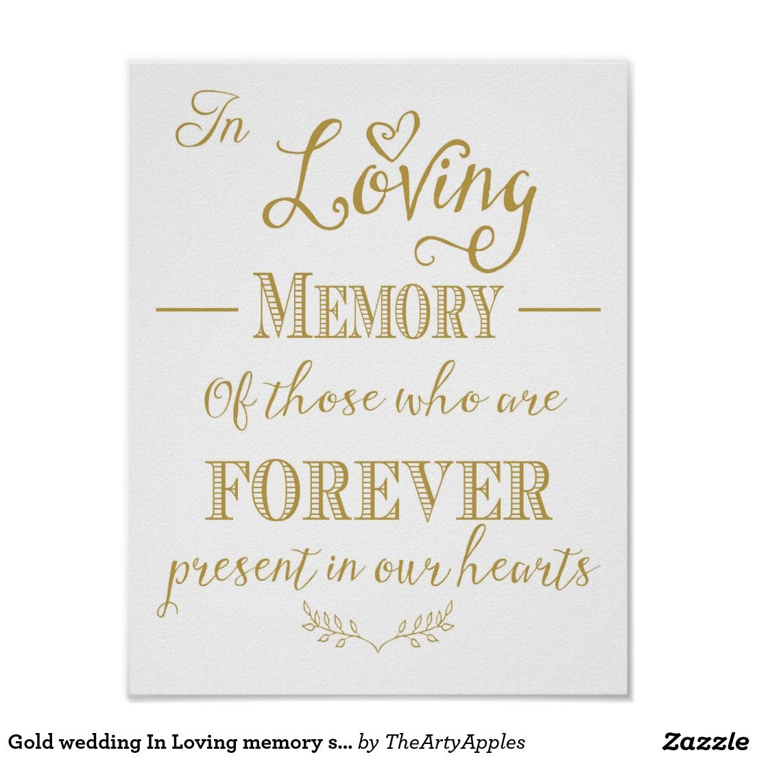 Gold wedding In Loving memory sign print