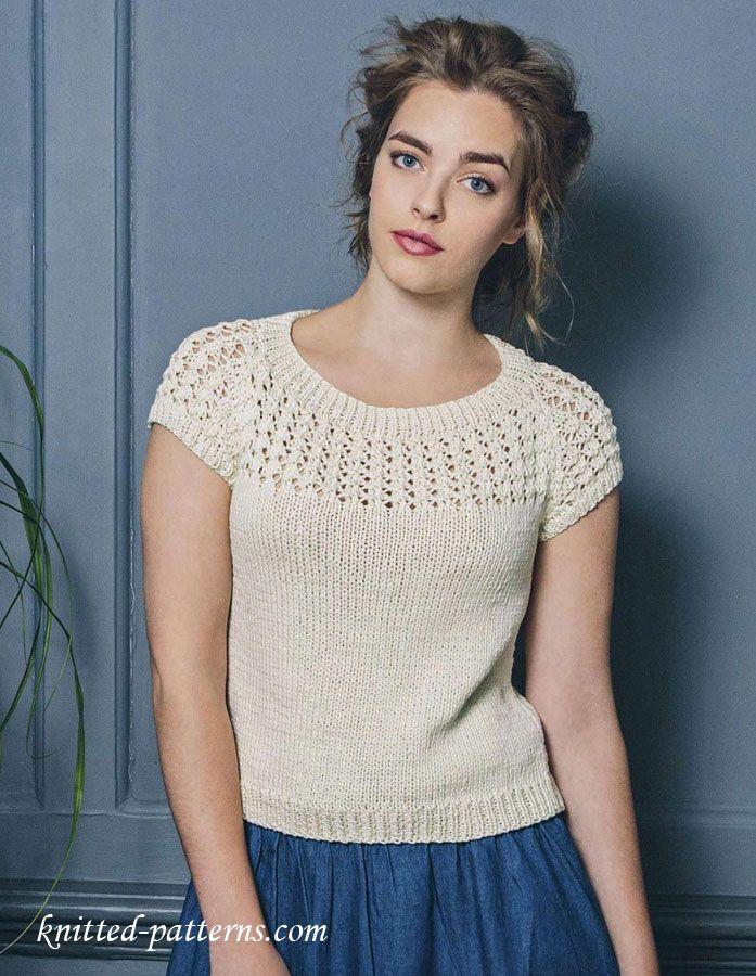 Knitting Summer Top : Summer top free knitting pattern dámská móda knitted