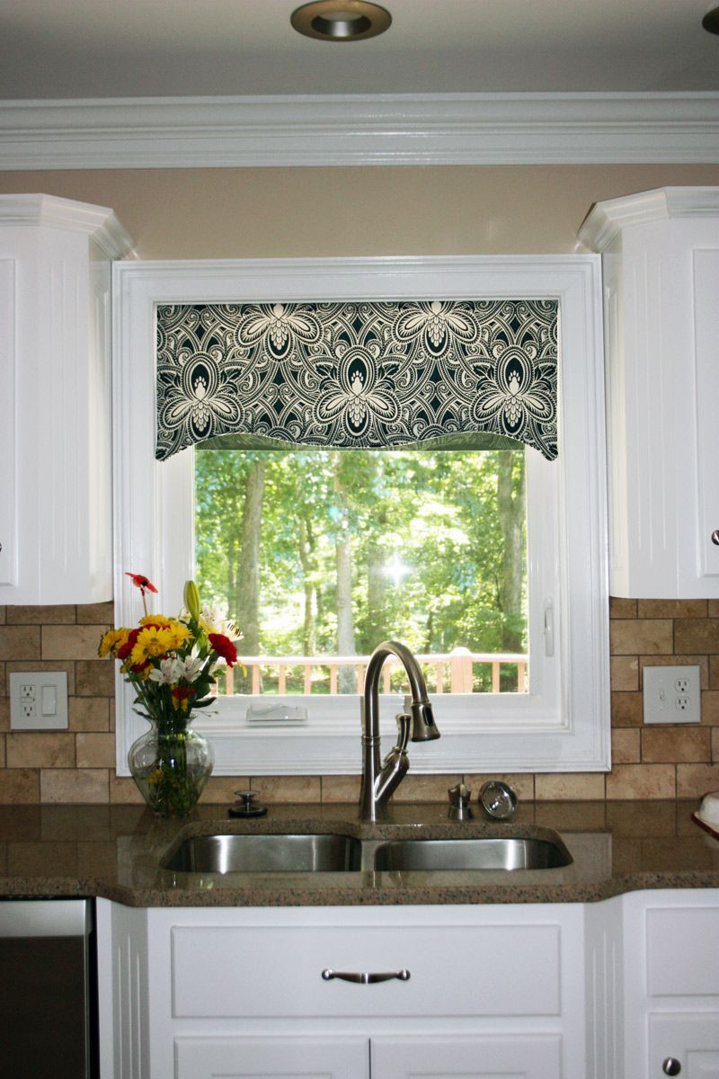 Kitchen window cornice ideas kitchen window valances for Kitchen valance ideas pinterest