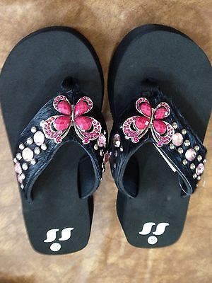 ae9fe5a39f69d ... Cowgirl Western Rhinestone Bling Flip Flops Shoes Sandals Black Hair  Butterfly new concept 328aa dbe35  Grazie® ...