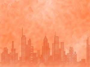 city skyline powerpoint templates and backgrounds | free red, Modern powerpoint