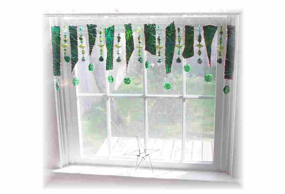 Touch of Lime Green  Stained Glass Window Valance | $134.00 | by LittleLaLaOriginals