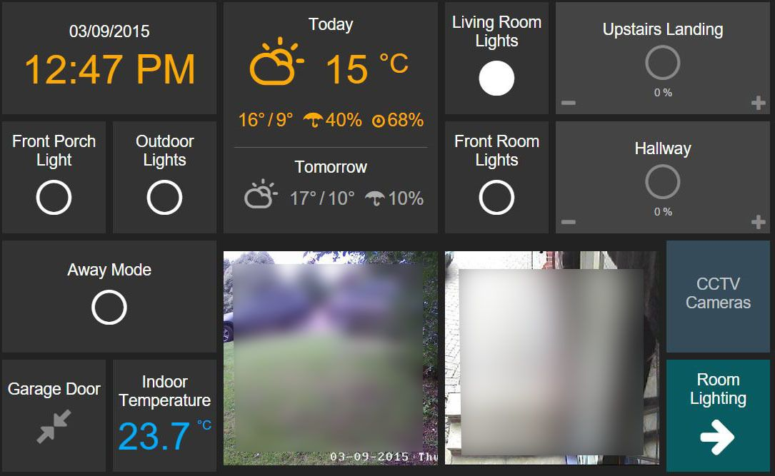 Dashboard UI suitable for tablets - Setup, Configuration and Use