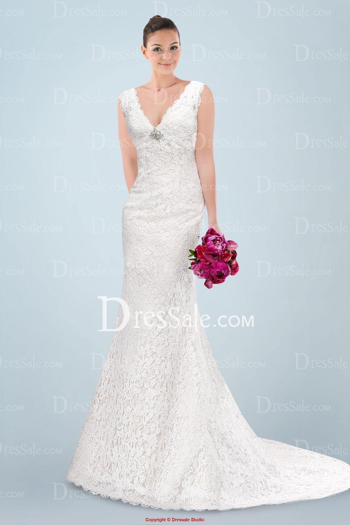 Alluring vneckline aline wedding dress with delicate lace overlay