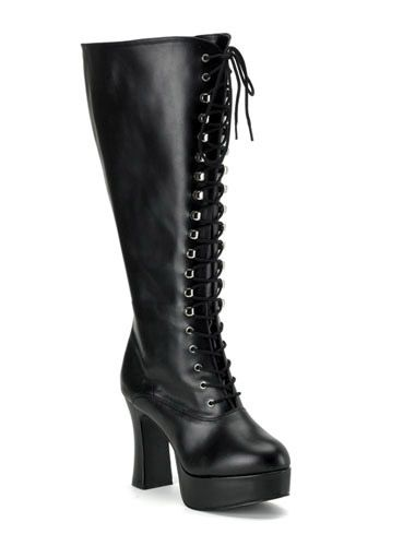 c3fc9f681ac Black Vintage Victorian-Gothic style lace up leather boots | Disney ...
