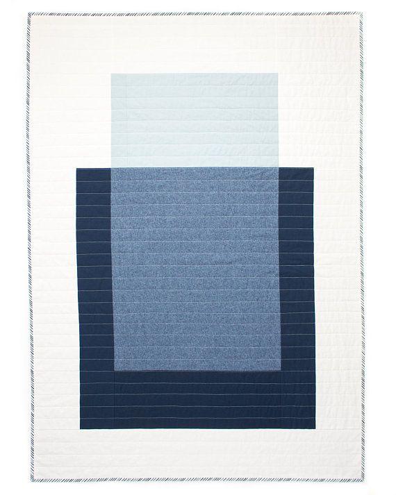 Colour Block Quilt #2   Modern Quilt   Wallhanging   Patchwork   Cotton-Linen Throw   Blue & White B #modernquiltingdesigns