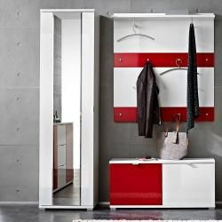 Photo of Garderoben-Kompakt-Set Detroit-01, Hochglanz weiß, rot, B x H x T ca.: 175 x 199 x 35 cm Lomado