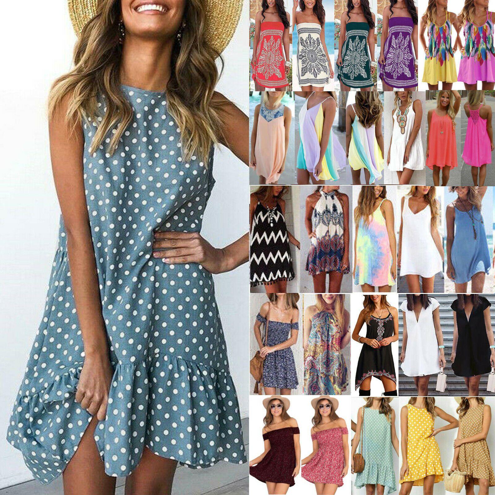 Damen Sommer Boho Kleid Trägerkleid Minikleid Party Abend Ballkleid Strandkleid
