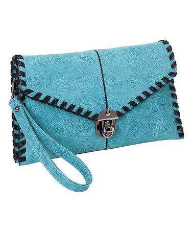 Turquoise Whip-Stitch Clutch #zulily #zulilyfinds