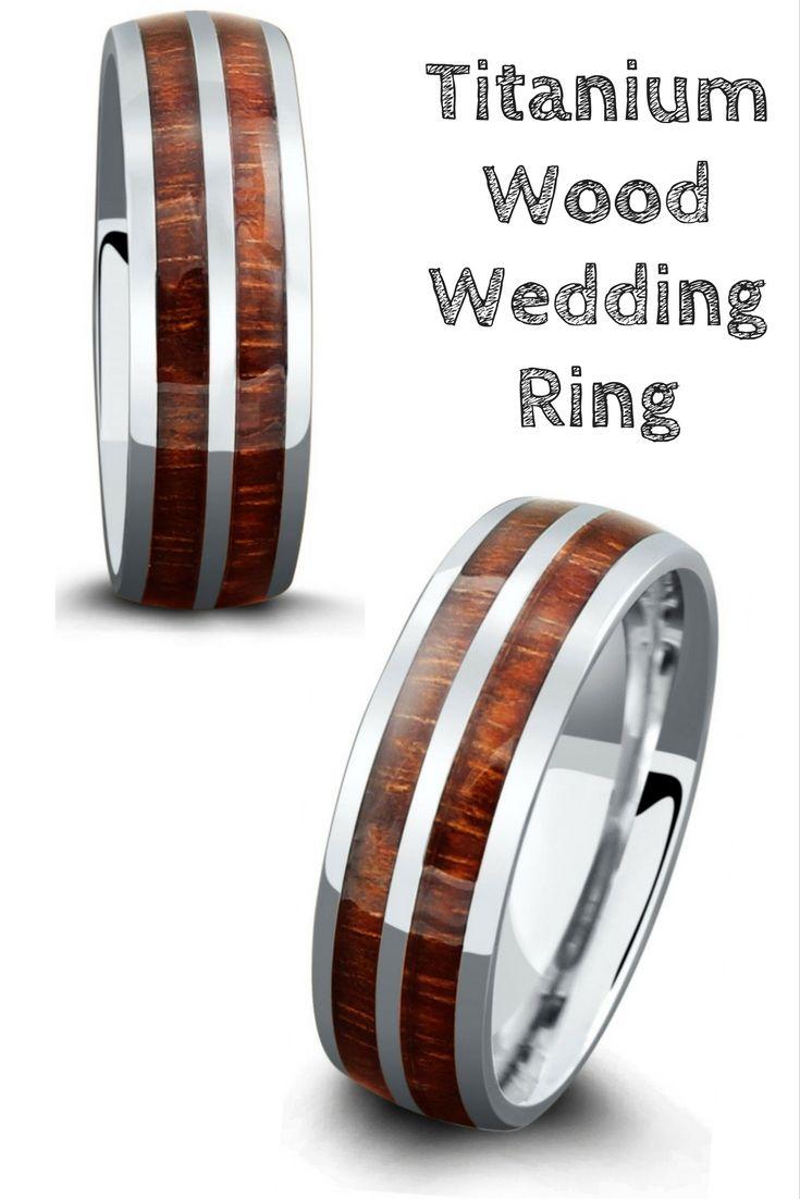 7mm Titanium Wood Ring with a Titanium Stripe Center Weddings