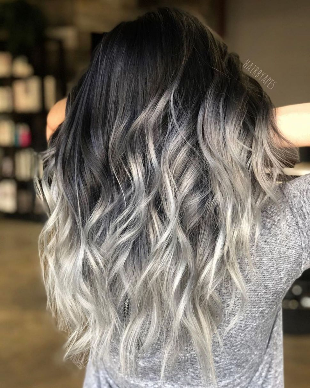 Blonde Ombre Hair For Dark Hair Hair Color For Black Hair Balayage Long Hair Silver Ombre Hair