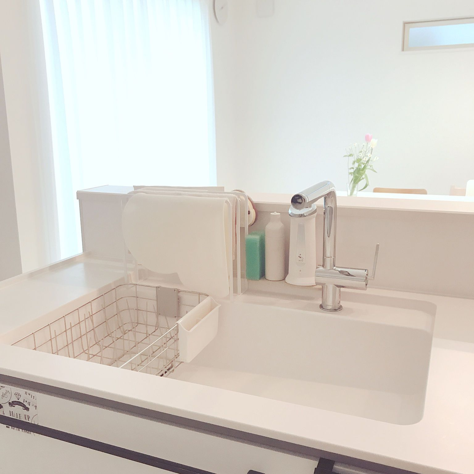 キッチン 水切りかご ホワイトインテリア 無印良品のインテリア実例