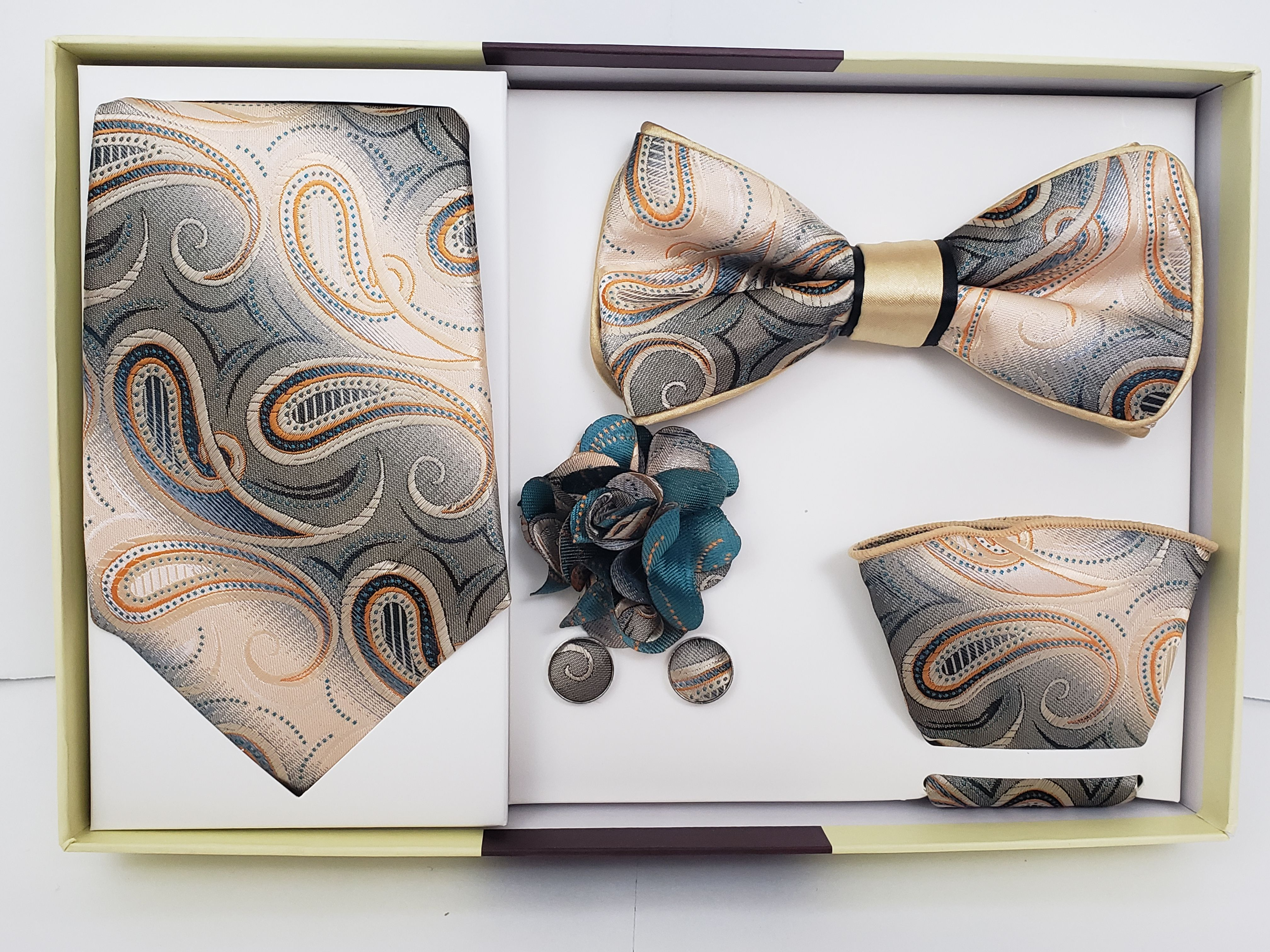 b04a23efabc5 Check this out from MashasCorner.com 5 Piece Matching Necktie & Bow Tie Box  Set Paisley Blue Gold Orange on Black - Handkerchief Round, ...