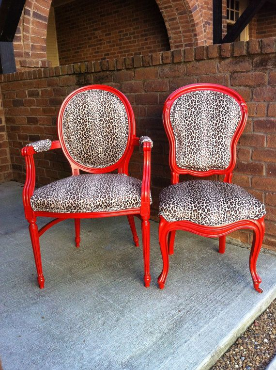 Bohemian French Bergere Animal Print Upholstered Dining Chairs By Lemonaider
