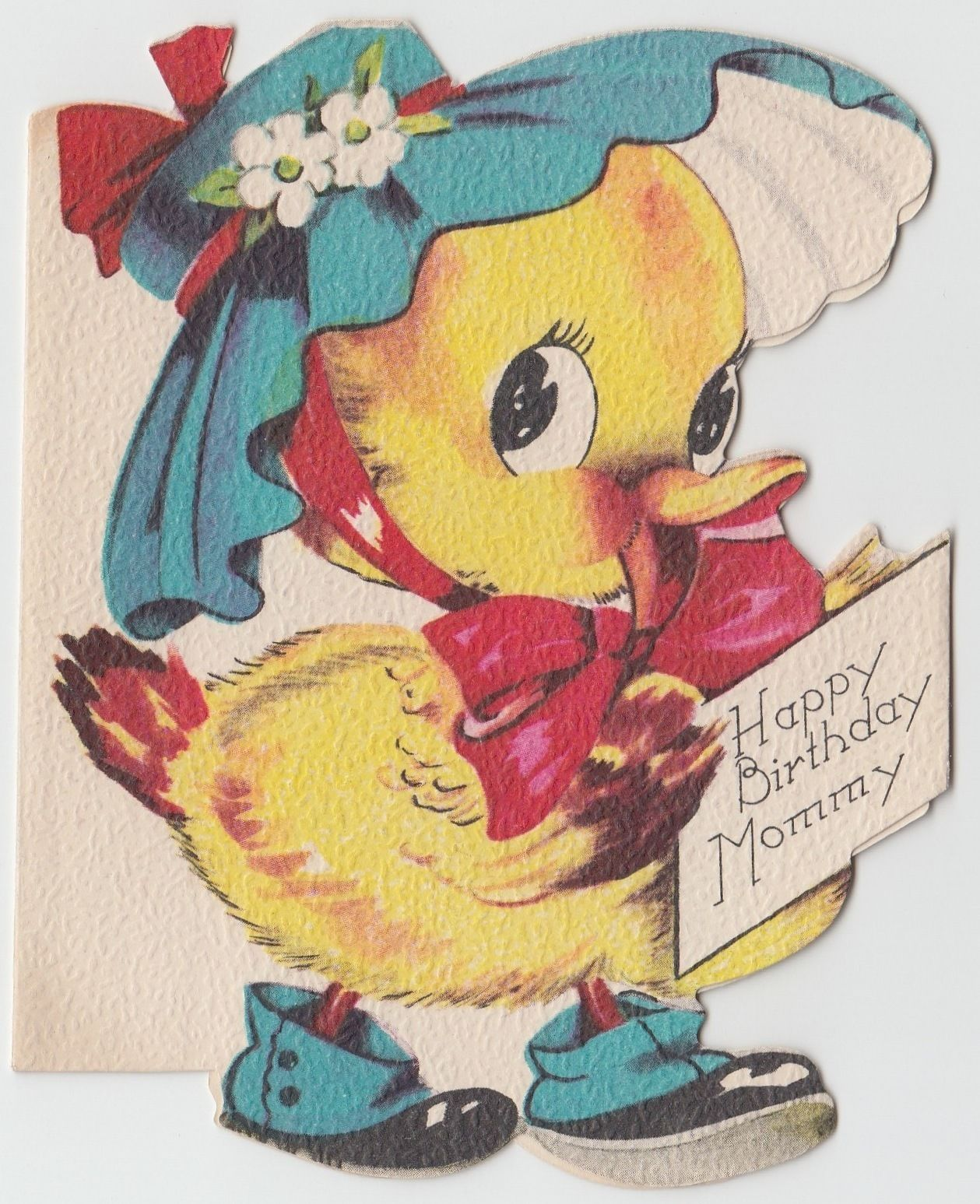 Vintage Greeting Card Cute Animal Duck Wearing Hat Die Cute Mommy Birthday J571 | eBay