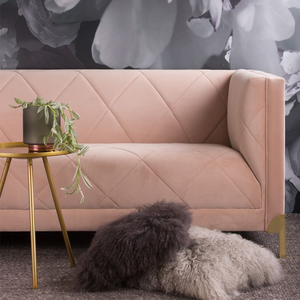 Russo Sofa 3 Seater In Pale Pink Velvet