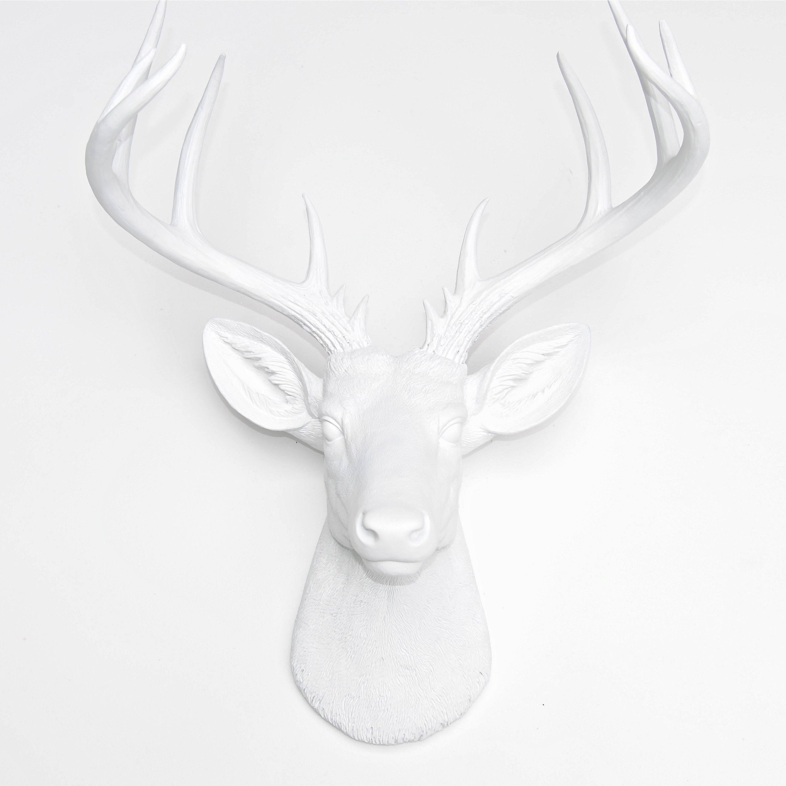 Large Deer Head White Wall Mount 14 Point Stag Antlers Faux Taxidermy Nd0101