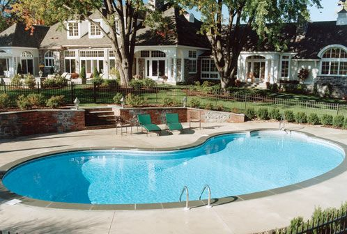 Rectangle Pool With A Built In Pool Cover Backyard Pool Landscaping Rectangle Pool Inground Pool Landscaping