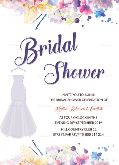 Autumn Bridal Shower Invitation Template Formats Included  MS Word