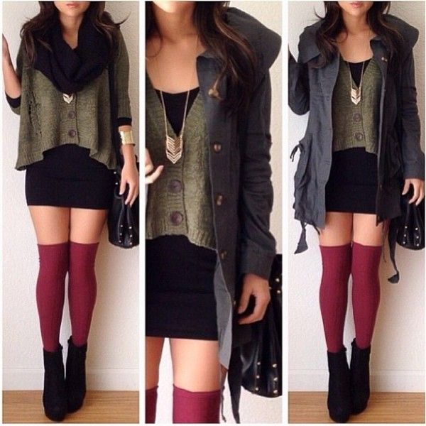Sweater: green necklace high knee socks socks jacket bag shoes wedges black red jewels scarf