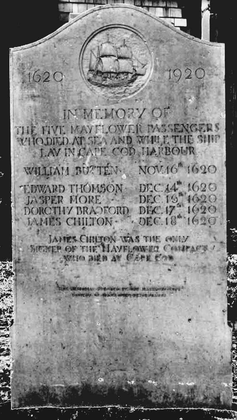 In Memory of 5 Mayflower Passengers Who Died At Sea While