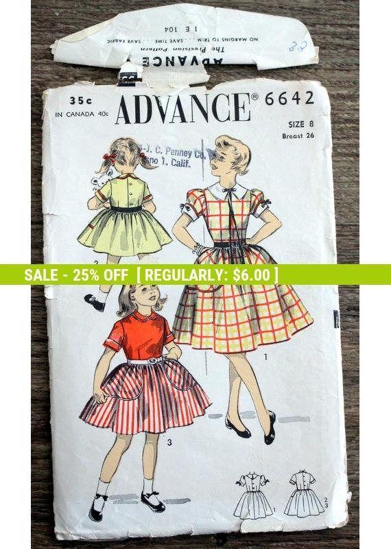 Pre-fall SALE Unprinted Advance Sewing Pattern #6642; Girls\' Size 8 ...
