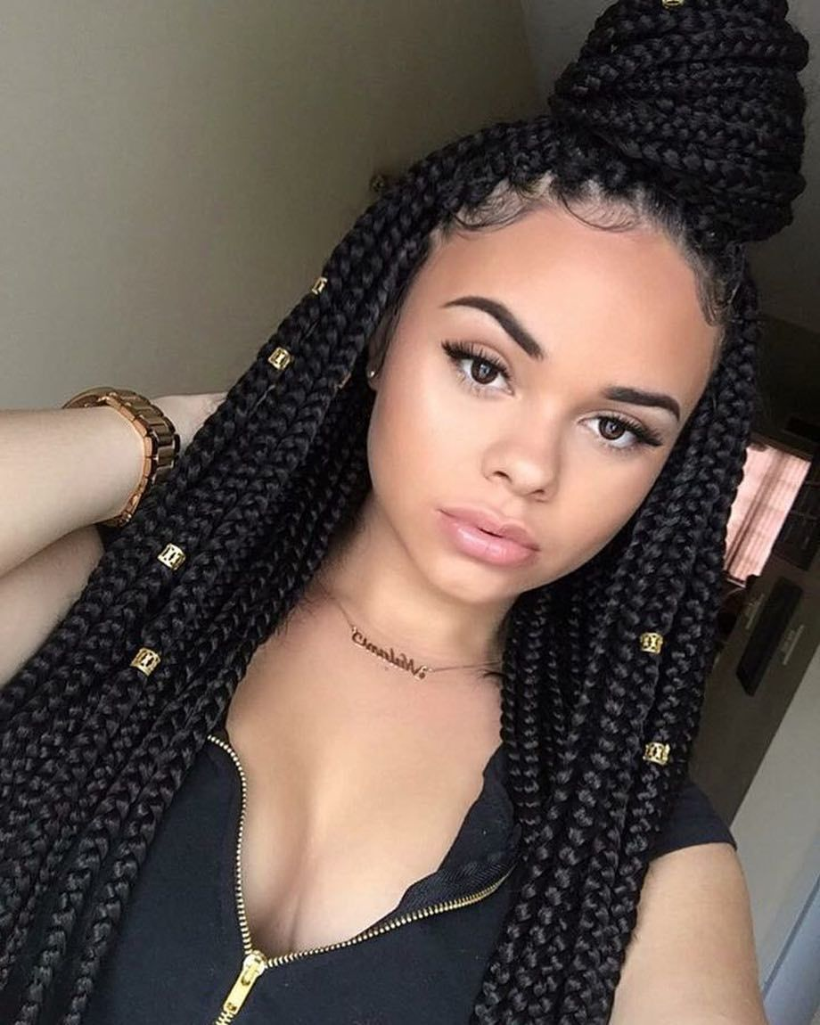 Latest Trend Hairstyles For 2020 2021 Hairstylefun Com Box Braids Styling Braided Hairstyles Curly Hair Styles