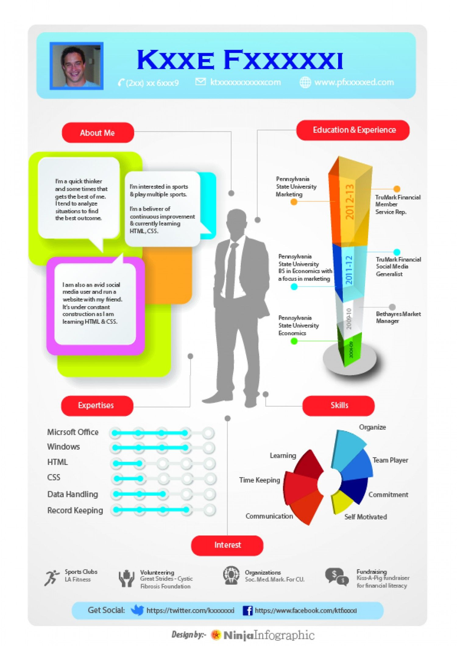 Infographic Resume Kxxe Fxxxxxi  Information Design  Pinterest  Infographic
