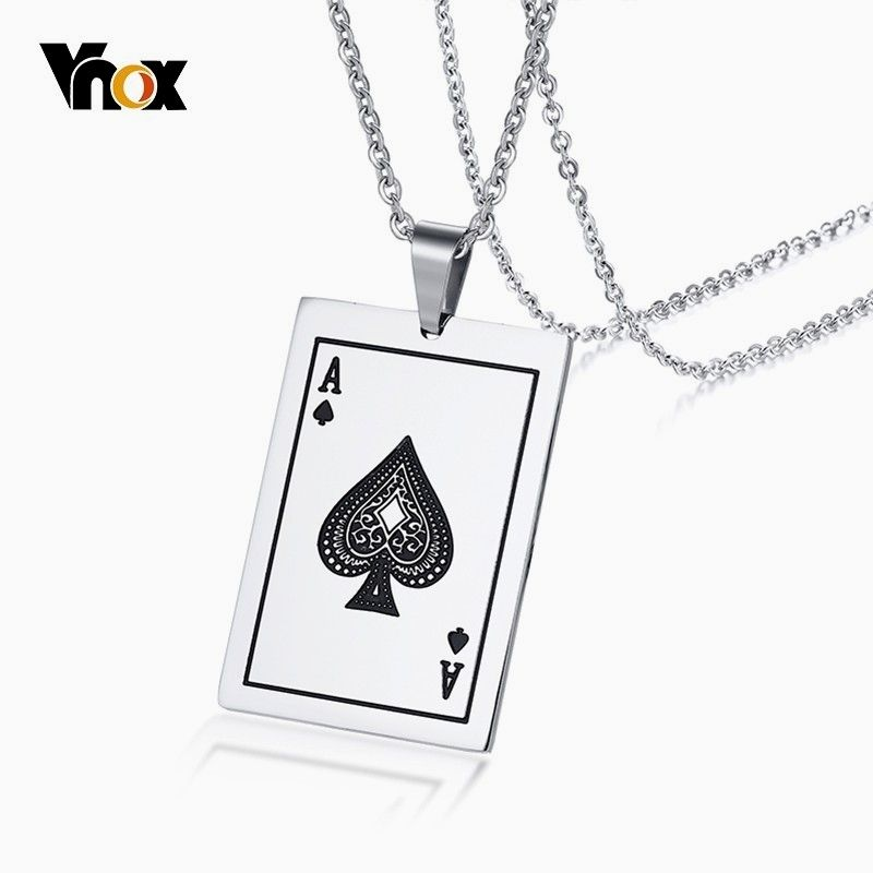 Fashion Mens Silver Stainless Steel Poker Playing Card Pendant Necklace Chain A