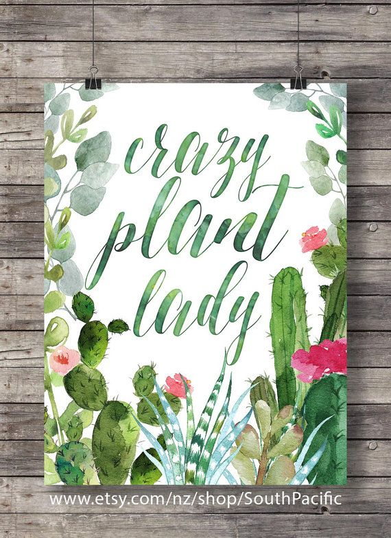 Crazy plant lady Printable wall art typography lettering wall art ...
