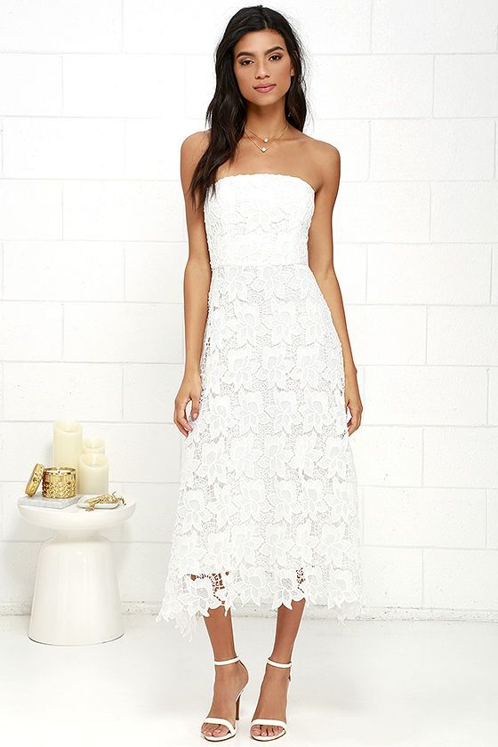 The BB Dakota Eleanor Ivory Lace Strapless Midi Dress is perfect for garden  parties a5dffcf25