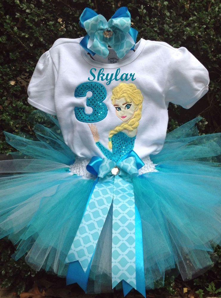 Frozen Elsa Birthday Outfit Shirt, tutu FREE bow 49.99