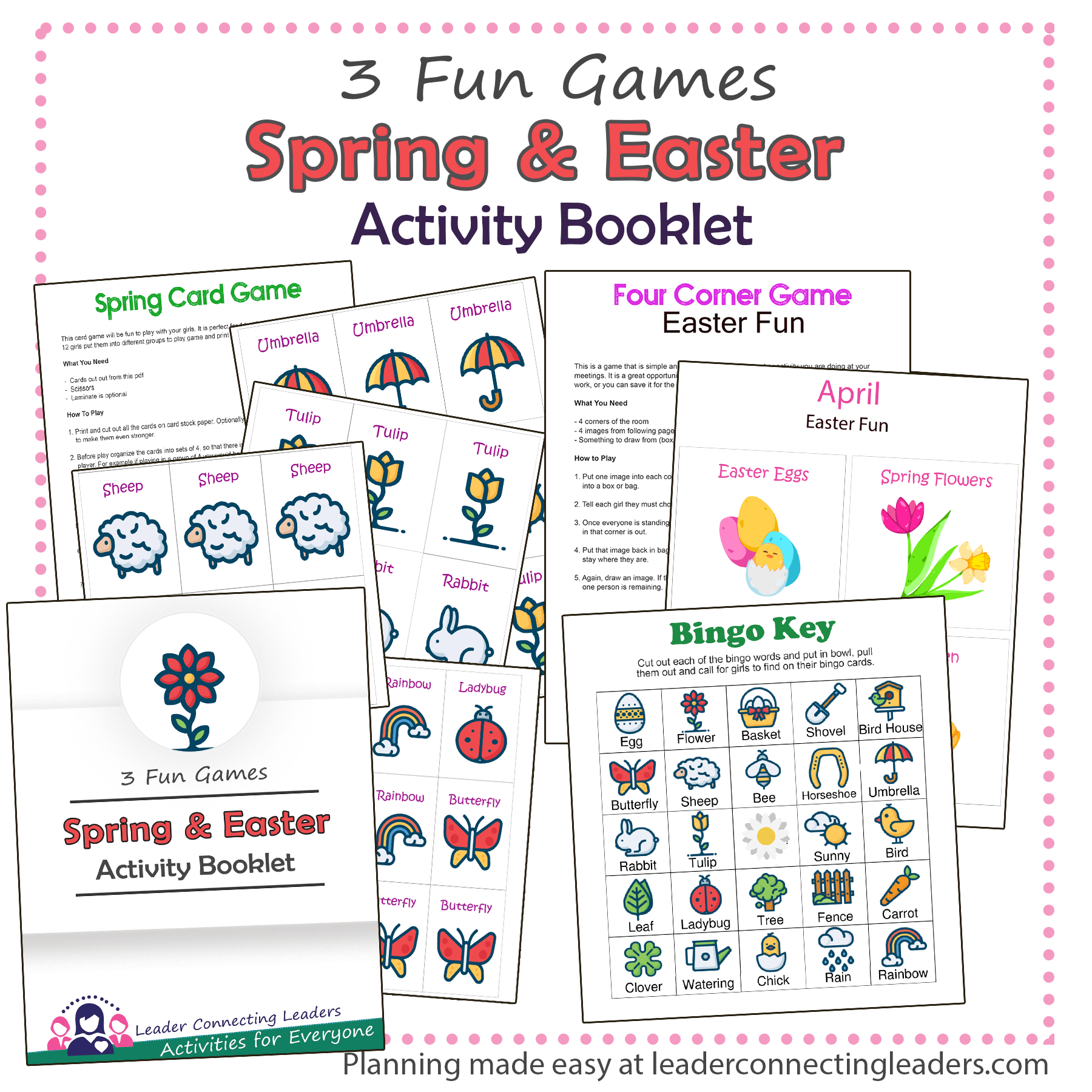 Easter And Spring Bingo Card And 4 Corner Game Activity